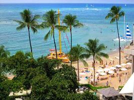 Waikiki Beach From The Top Of Moana Surfrider